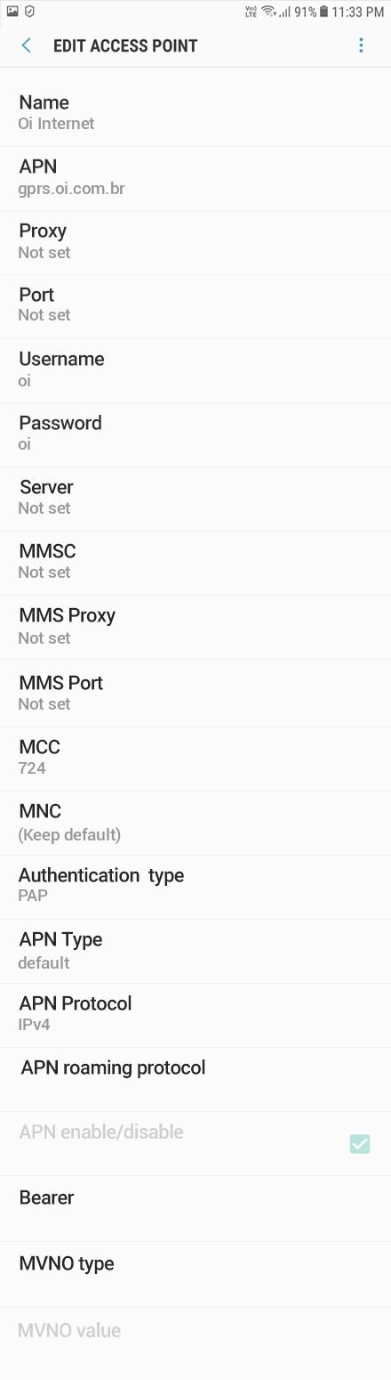 Oi Internet APN settings for Android Oreo screenshot