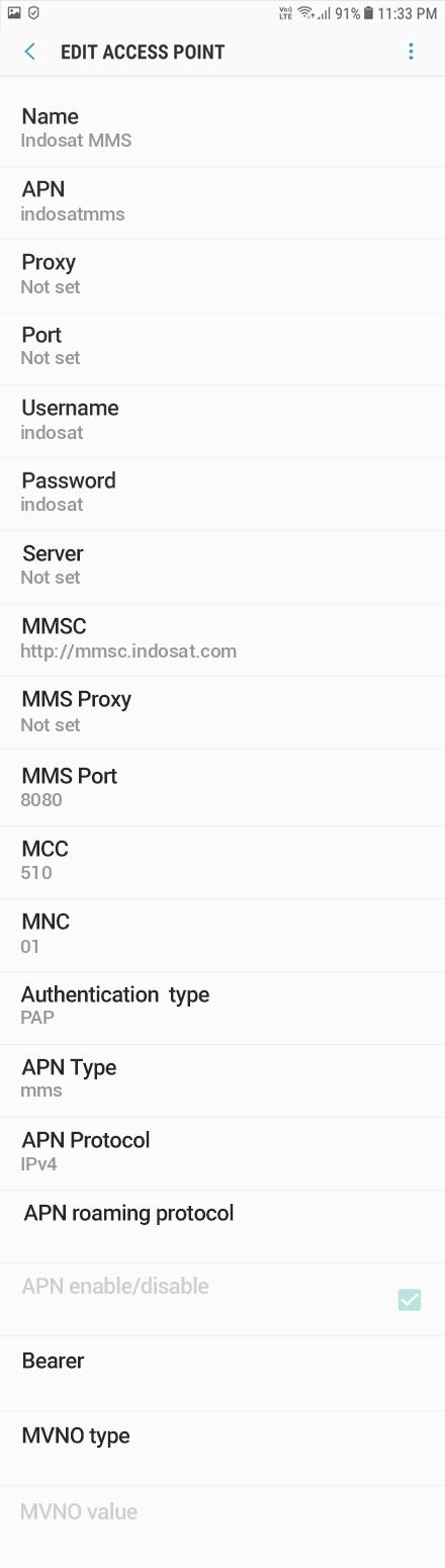 Indosat MMS APN settings for Android Oreo screenshot