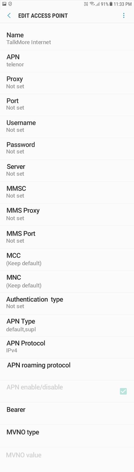 TalkMore Internet APN settings for Android Oreo screenshot