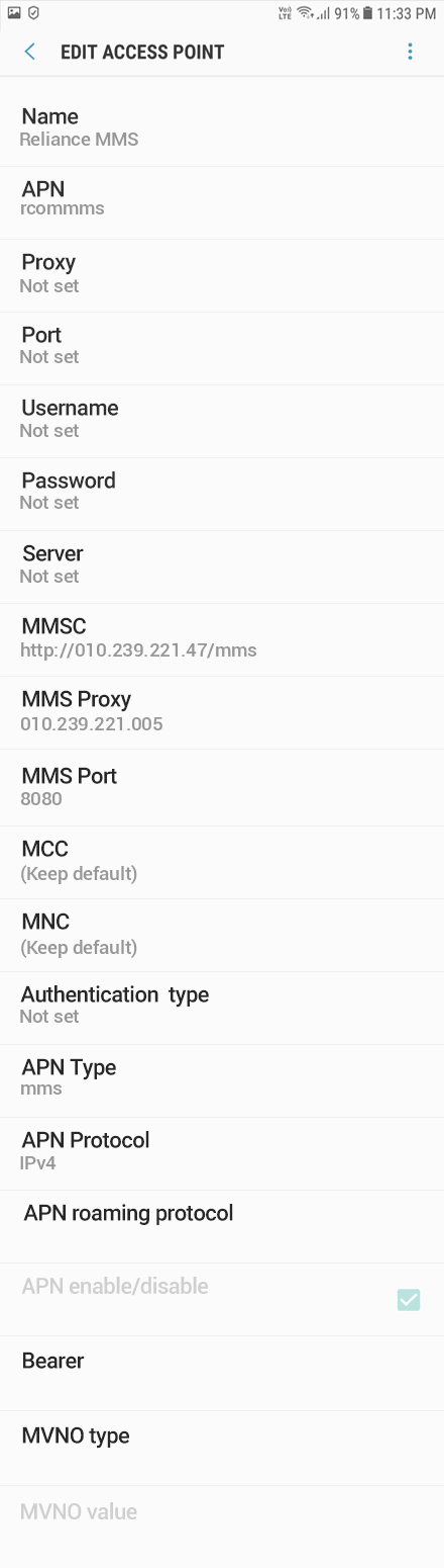Reliance MMS APN settings for Android Oreo screenshot