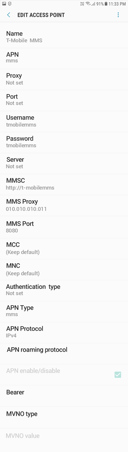 T-Mobile  MMS APN settings for Android Oreo screenshot