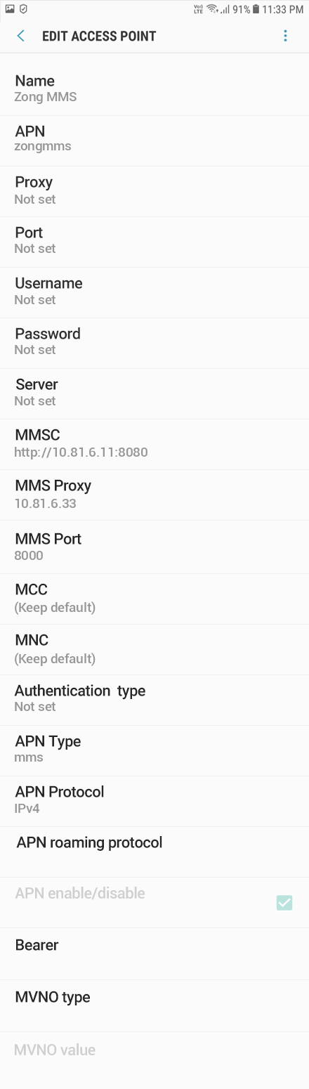 Zong MMS APN settings for Android Oreo screenshot