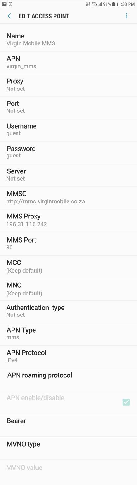 Virgin Mobile MMS APN settings for Android Oreo screenshot