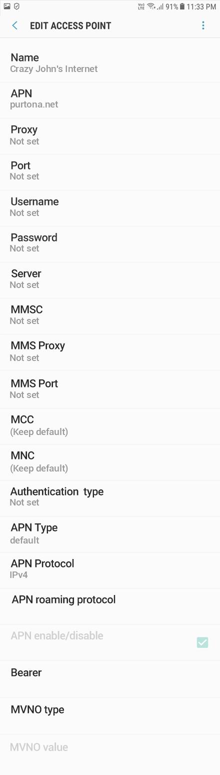 Crazy John's Internet APN settings for Android Oreo screenshot