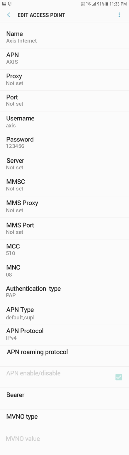 Axis Internet APN settings for Android Oreo screenshot