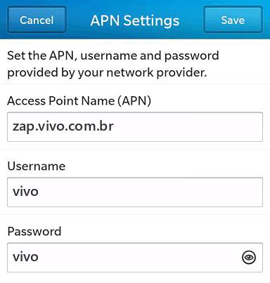 Vivo Internet APN settings for BlackBerry 10 screenshot
