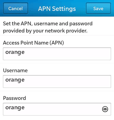 Orange Internet APN settings for BlackBerry 10 screenshot