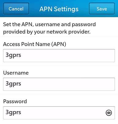 3 Internet APN settings for BlackBerry 10 screenshot