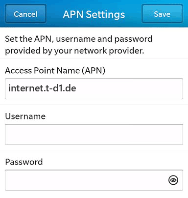 Lebara Internet APN settings for BlackBerry 10 screenshot