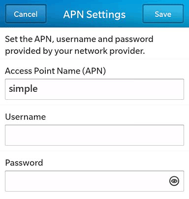 Simple Mobile  APN settings for BlackBerry 10 screenshot
