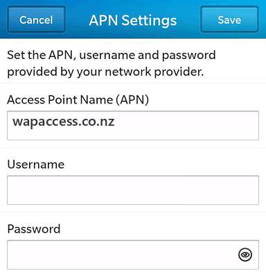 Skinny Mobile  APN settings for BlackBerry 10 screenshot