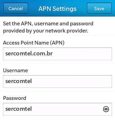 Sercomtel Internet APN settings for BlackBerry 10 screenshot