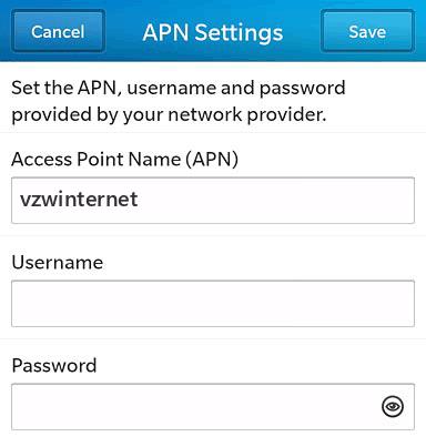 Verizon  APN settings for BlackBerry 10 screenshot