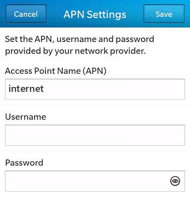 MyCall Internet APN settings for BlackBerry 10 screenshot
