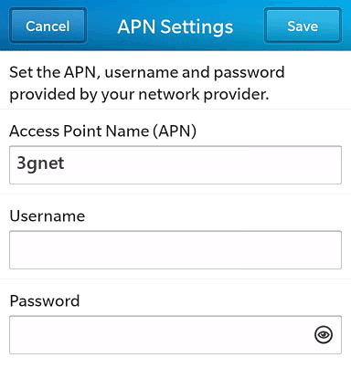 China Unicom  APN settings for BlackBerry 10 screenshot