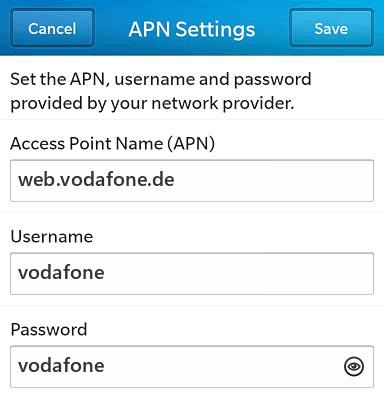 Vodafone Internet APN settings for BlackBerry 10 screenshot