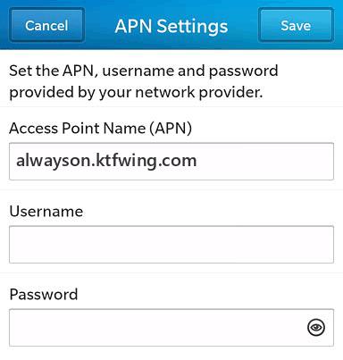 KT  APN settings for BlackBerry 10 screenshot