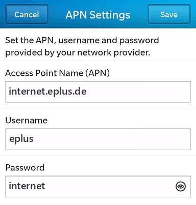 E-plus Internet APN settings for BlackBerry 10 screenshot