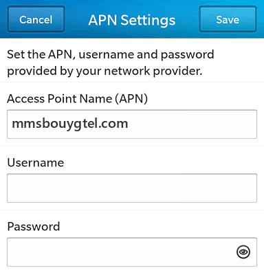 Bouygues  APN settings for BlackBerry 10 screenshot