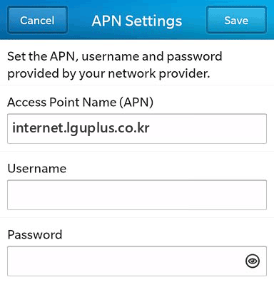LG U+  APN settings for BlackBerry 10 screenshot