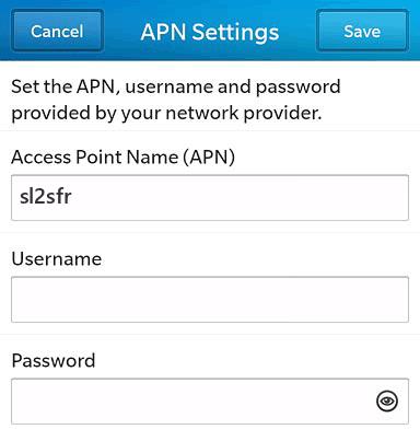 SFR  APN settings for BlackBerry 10 screenshot