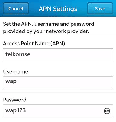 Telkomsel Internet APN settings for BlackBerry 10 screenshot