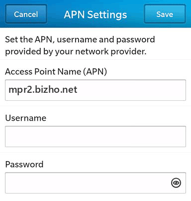 NTT DoCoMo Internet APN settings for BlackBerry 10 screenshot