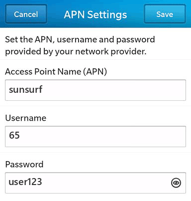 M1 Internet APN settings for BlackBerry 10 screenshot
