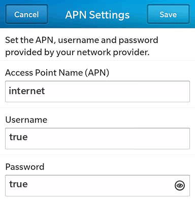 TrueMove H Internet APN settings for BlackBerry 10 screenshot