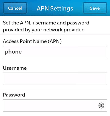 AT&T  APN settings for BlackBerry 10 screenshot