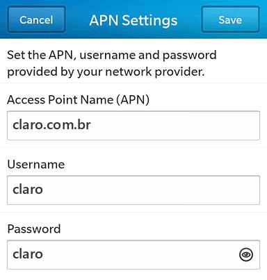 Claro Internet APN settings for BlackBerry 10 screenshot