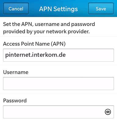O2  APN settings for BlackBerry 10 screenshot