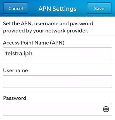 Telstra  APN settings for BlackBerry 10 screenshot