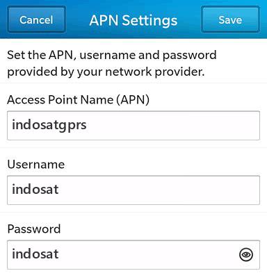 Indosat Internet APN settings for BlackBerry 10 screenshot