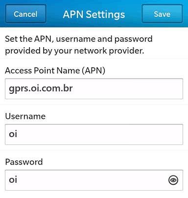 Oi Internet APN settings for BlackBerry 10 screenshot