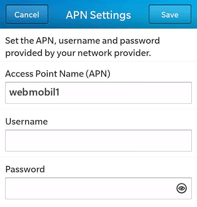 Tchibo  APN settings for BlackBerry 10 screenshot
