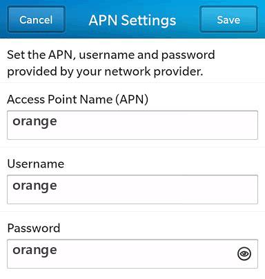 Sosh Internet APN settings for BlackBerry 10 screenshot