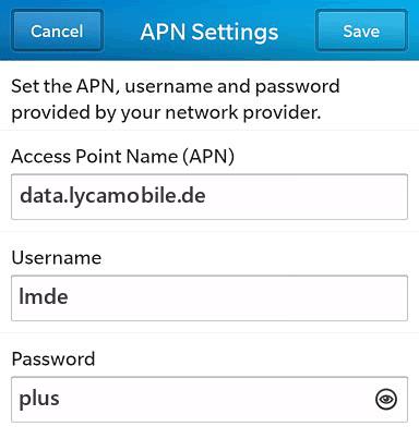 LycaMobile Internet APN settings for BlackBerry 10 screenshot