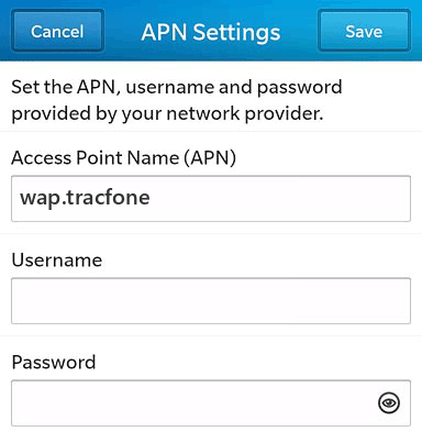 Net 10  APN settings for BlackBerry 10 screenshot
