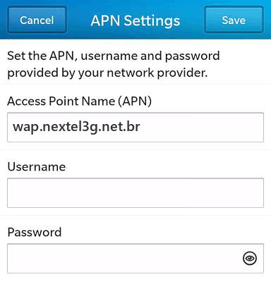 Nextel Internet APN settings for BlackBerry 10 screenshot