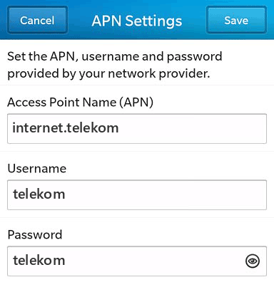 Telekom  APN settings for BlackBerry 10 screenshot