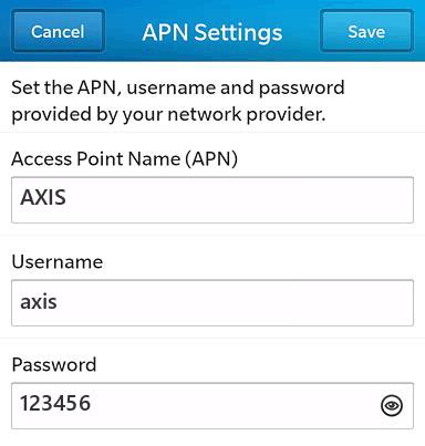 Axis Internet APN settings for BlackBerry 10 screenshot
