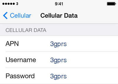 3 Internet APN settings for iOS8 screenshot