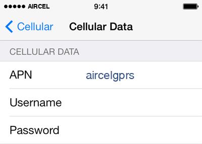 Aircel Internet APN settings for iOS9 screenshot