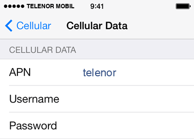 Telenor Mobil  APN settings for iOS9 screenshot