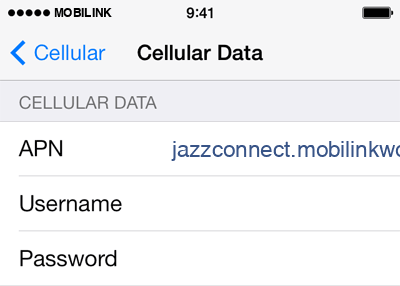 Mobilink Internet APN settings for iOS8 screenshot