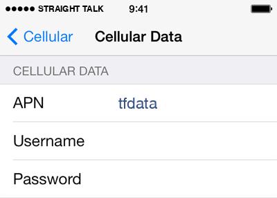 Straight Talk  APN settings for iOS8 screenshot