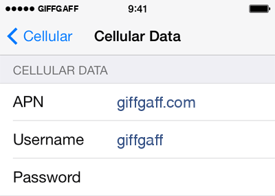 Giffgaff Internet APN settings for iOS9 screenshot