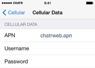 Chatr  APN settings for iOS8 screenshot