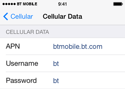 BT Mobile Internet APN settings for iOS9 screenshot